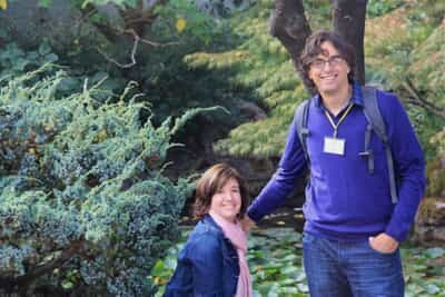 John and Katie, Huron tour managers, in the Nitobe Memorial Garden at the University of British Columbia