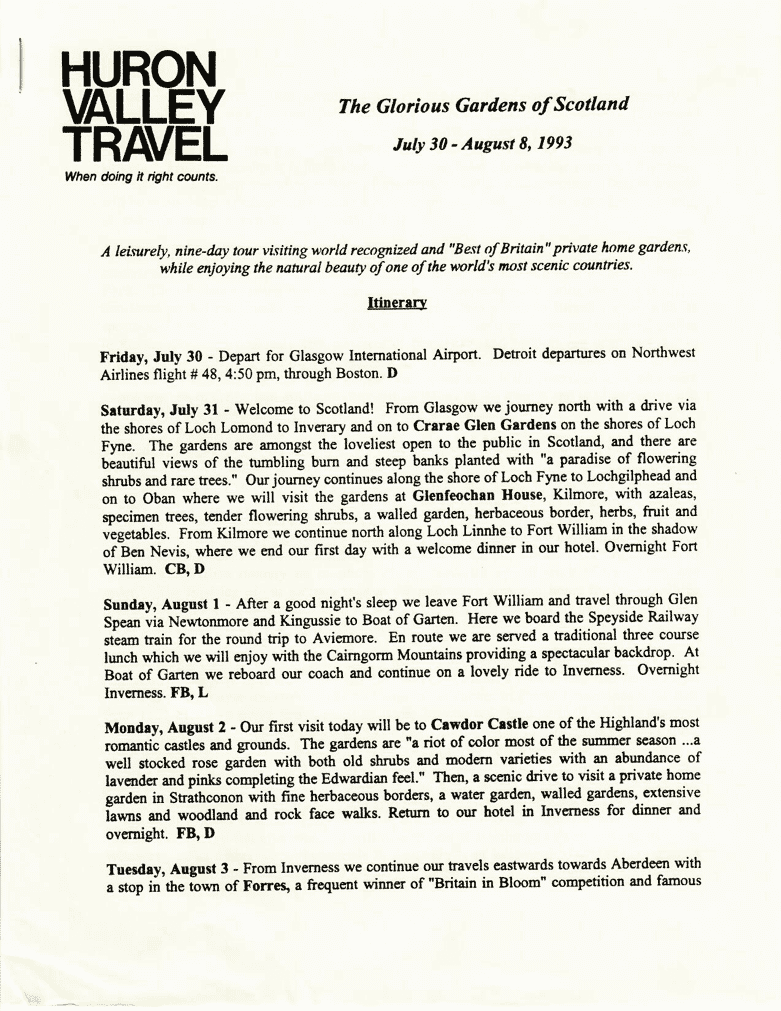 Page 1 of 1993 Scotland Garden Tour Final Tour Documents