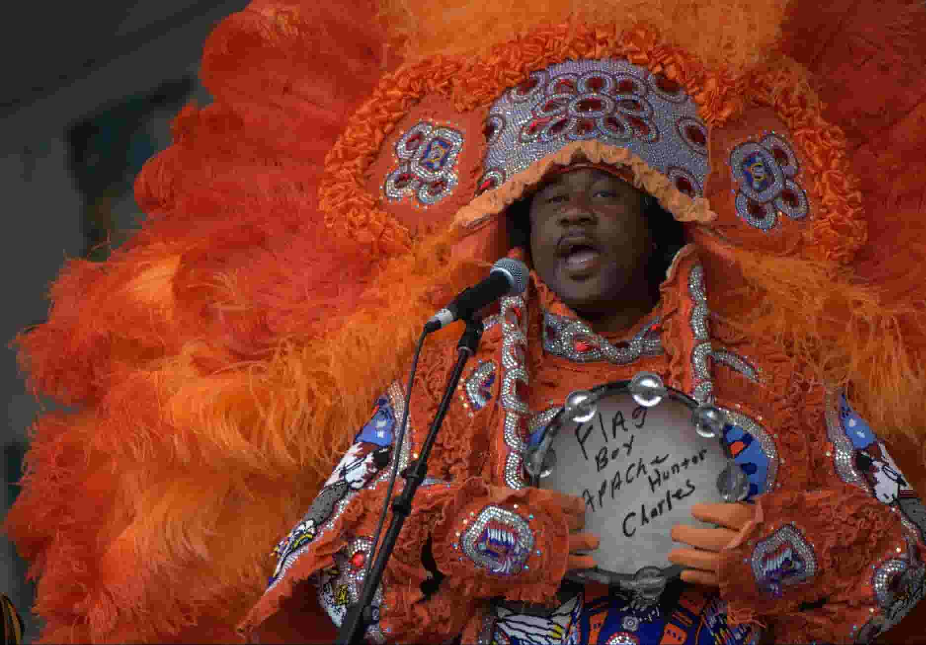 Mardi Gras Indian performing during our 2009 tour to the New Orleans Jazz and Heritage Festival (one of our favorite events and right at home!)