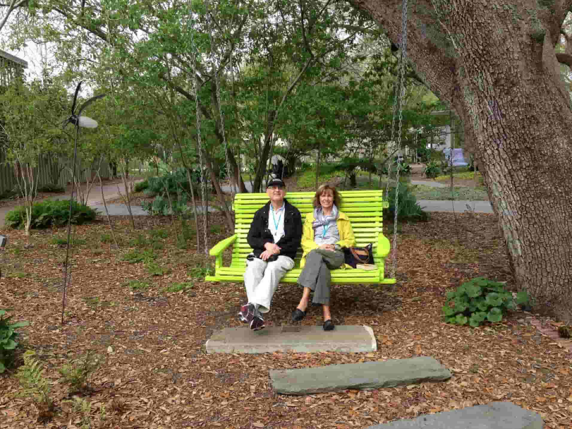 John and Jan Kosta take a break in the New Orleans Botanical garden on our Secret Gardens of New Orleans Tour in 2013